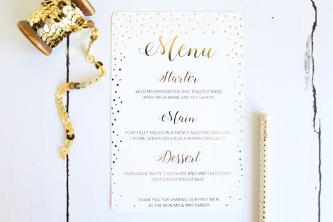 Foiled Menu personalised with wedding breakfast from the Confetti Collection by Confetti Sweethearts
