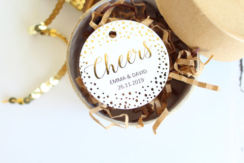 Foiled  'Cheers' Favour Tags personalised with names and date from the Confetti Collection by Confetti Sweethearts