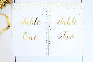 foil confetti table numbers wedding