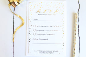 Foiled Wedding RSVP Card 'Confetti Collection' by Confetti Sweethearts