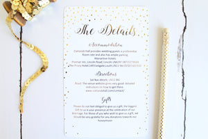 Foiled Wedding Details Card 'Confetti Collection' by Confetti Sweethearts