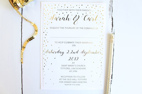 Foiled Wedding Invitation in the Confetti Collection by Confetti Sweethearts