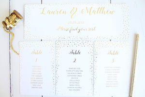 Foiled Table Plan Cards & Headers in Confetti Design by Confetti Sweethearts