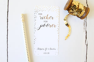 Foiled For richer, for poorer wedding favour gift cards personalised with names and date from the Confetti Collection