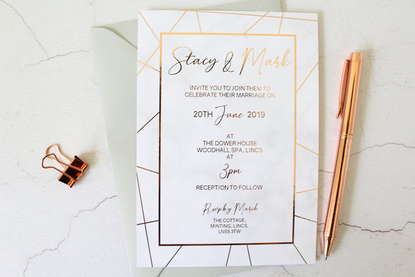 Foiled Geometric Marble Wedding Invitation personalised with your wording by Confetti Sweethearts