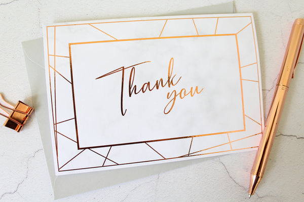 Foiled Thank you Card in the Geometric Marble Design by Confetti Sweethearts