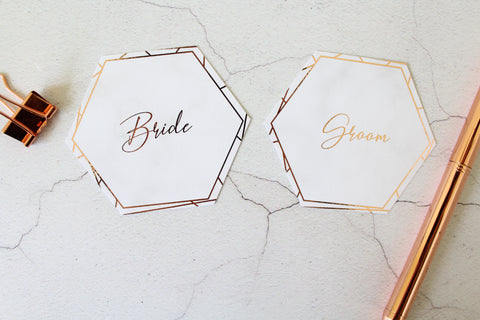 Foiled Wedding Name Place Cards Geometric Marble Hexagon shape by Confetti Sweethearts