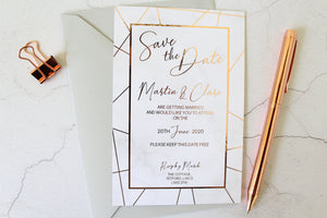 marble geometric foil save the date for wedding