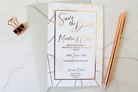 Foiled Wedding Save the Date personalised from the Geometric Marble Collection by Confetti Sweethearts