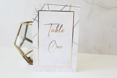 marble foil geometric table numbers for wedding