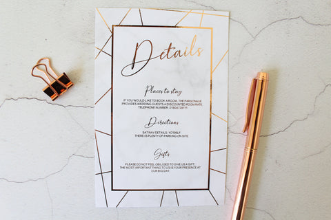 Foiled Wedding Details Card 'Geometric Marble Collection' by Confetti Sweethearts