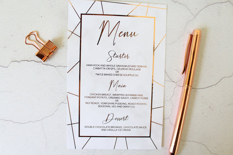 Foiled Menu personalised with wedding breakfast from the Geometric Marble Collection by Confetti Sweethearts