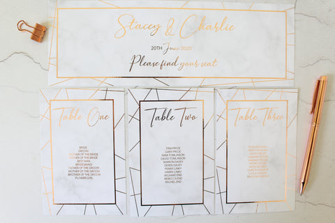 Foiled Table Plan Cards & Headers in Geometric Marble Design by Confetti Sweethearts