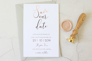Foiled Wedding Save the Date personalised from the Elegance Collection by Confetti Sweethearts