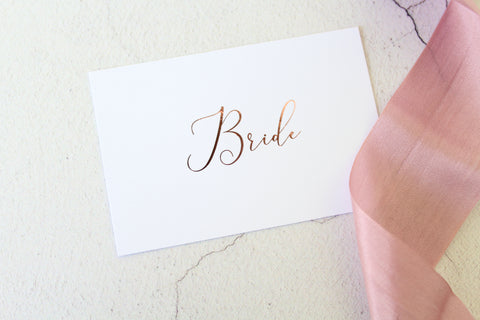 Foiled Wedding Flat Place Cards personalised with guests names from the Elegance Collection by Confetti Sweethearts