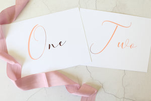 table numbers wedding foil