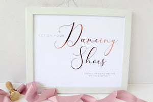 Foiled Get on your Dancing Shoes Wedding Sign by Confetti Sweethearts