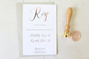 Foiled Wedding RSVP Card 'Elegance Collection' by Confetti Sweethearts