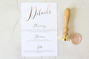 Foiled Wedding Details Card 'Elegance Collection' by Confetti Sweethearts