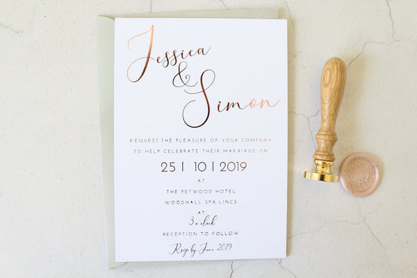 Foiled Wedding Invitation with Vellum Wrap & Wax Seal 'Elegance Collection' by Confetti Sweethearts