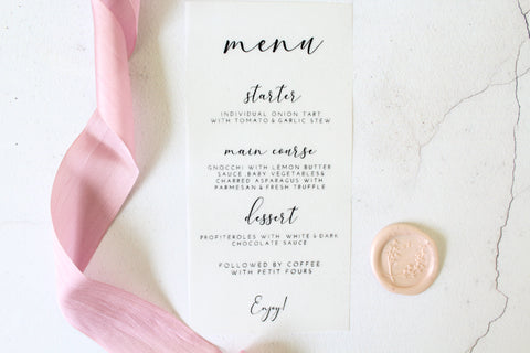 Foiled Vellum Wedding Menu 'Elegance Collection' by Confetti Sweethearts