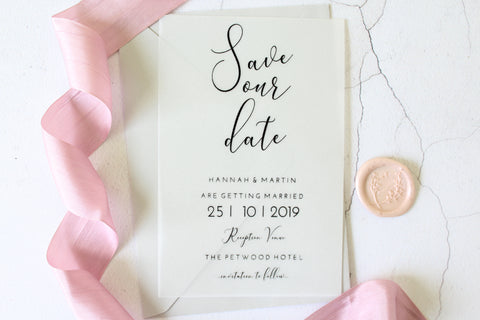 vellum and foil wedding save the dates