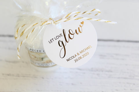Foiled  'Let Love Glow' Favour Tags personalised with names and date from the Confetti Collection
