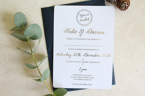 Foiled Wedding Invitation 'Wreath Collection'