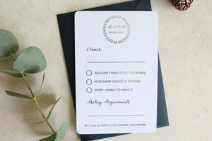 Foiled Wedding RSVP Card 'Wreath Collection'