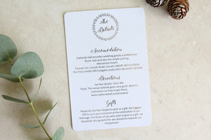 Foiled Wedding Details Card 'Wreath Collection'