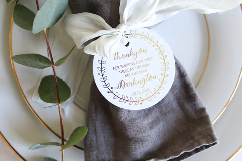Personalised 'Thank you for sharing our first meal as the new Mr & Mrs' Favour/Napkin Tags