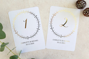 wreath table numbers foiled and personalised