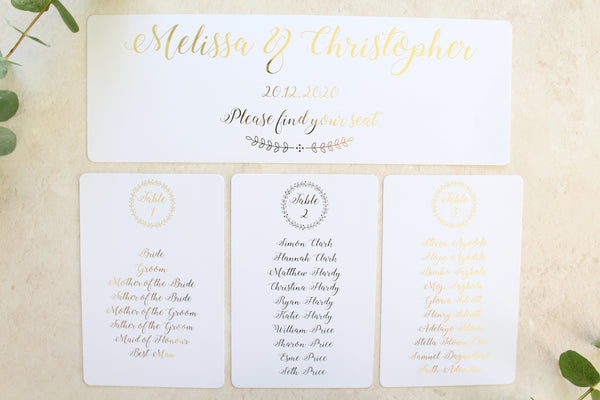 Personalised Table Plan Cards & Headers - Wreath Collection