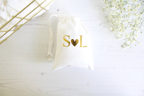 Cotton Favour Bags personalised with initials for wedding/engagement