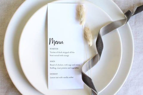 Foiled Wedding Menu Timeless Love  Collection'