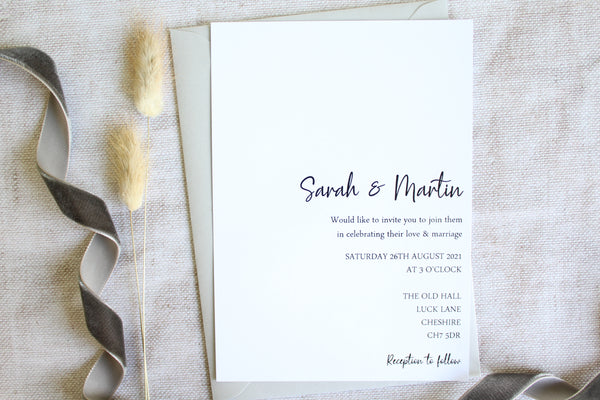 Foiled Wedding Invitation Personalised from the 'Timeless Love' Collection