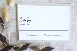 Foiled Wedding RSVP Card from the 'Timeless Love' Collection