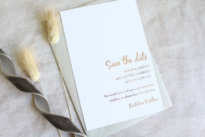 Foiled Wedding Save the Date personalised from the Timeless Love Collection