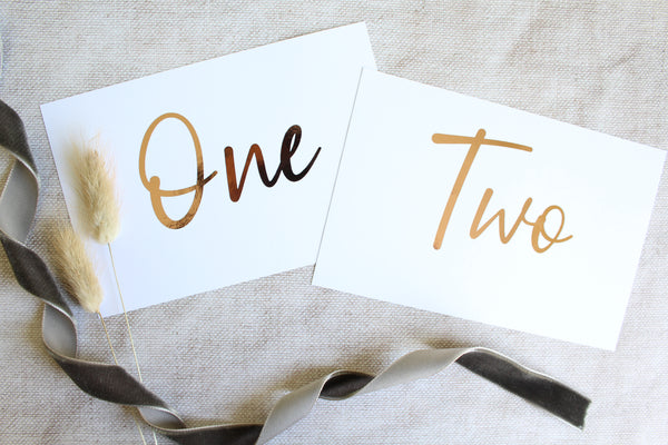 minimalist wedding table numbers foiled