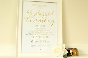 Personalised Unplugged Wedding Ceremony Sign