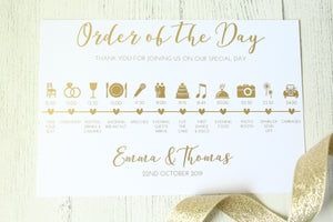 Personalised Order of the Day Cards