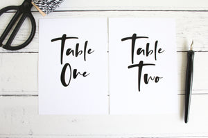 Foil wedding table numbers modern day collection wedding stationery by Confetti Sweethearts