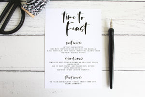 Foiled Wedding Menu 'Time to Feast' Modern Day Collection by Confetti Sweethearts