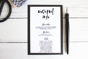 Foiled Wedding 'Useful Info' Card 'Modern Day Collection by Confetti Sweethearts