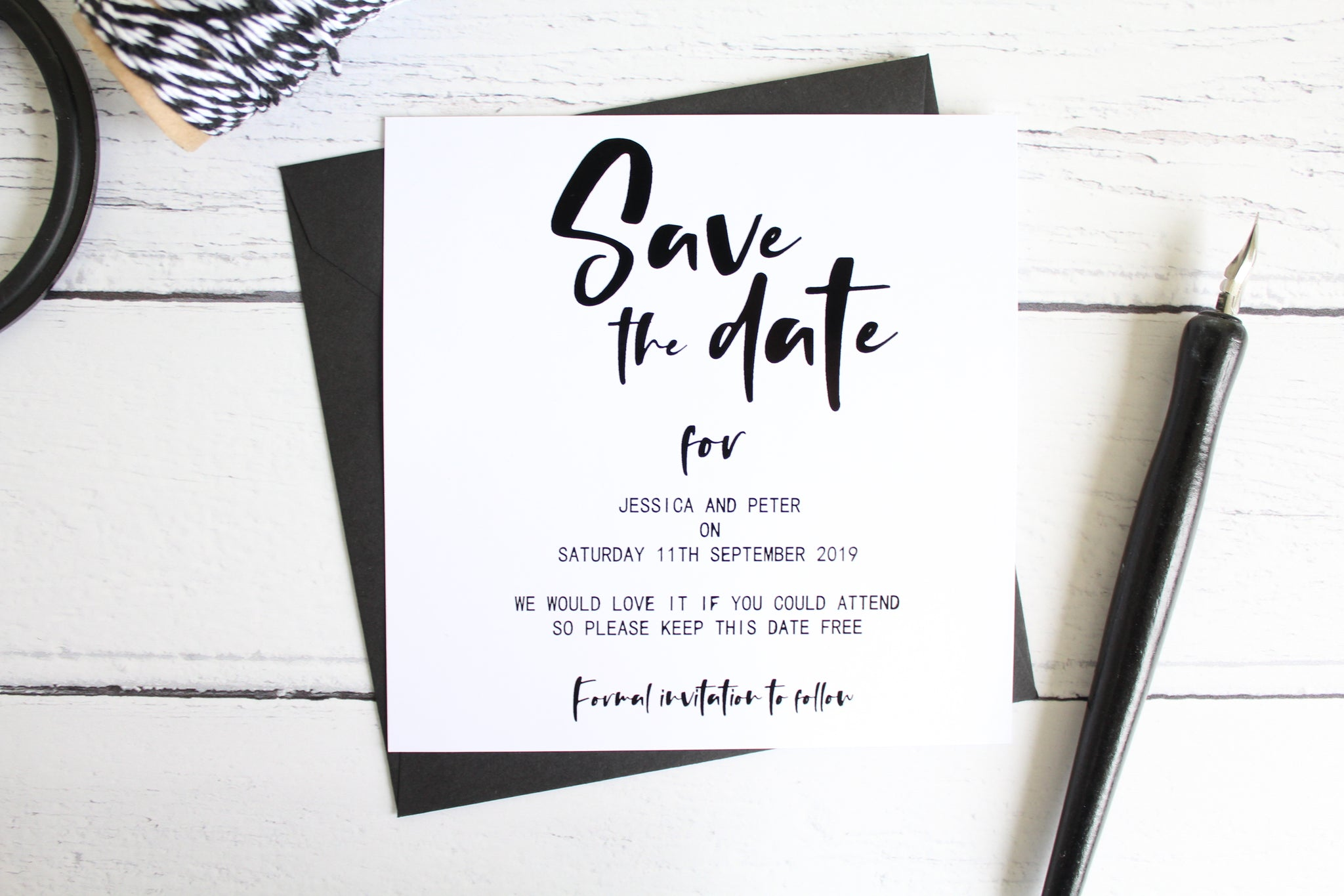 rustic save the dates for wedding foil colours