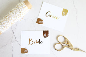 Foiled Wedding Flat Place Cards 'Brushed Collection' by Confetti Sweethearts
