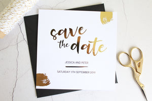 industrial save the dates for wedding foil colours