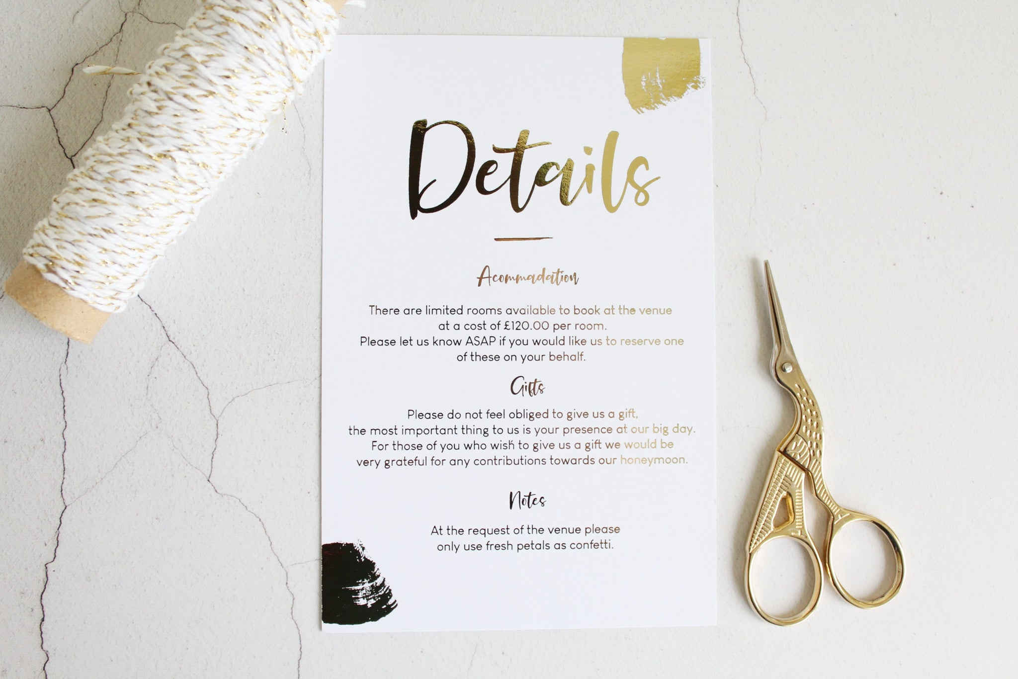 Foiled Wedding Details Card 'Brushed Collection' by Confetti Sweethearts