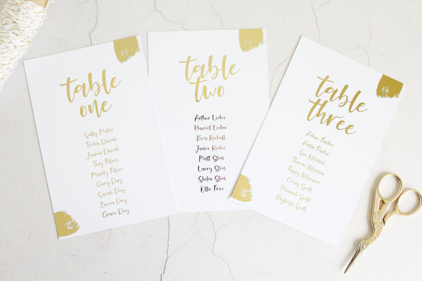 Foiled Wedding Table Plan 'Brushed Collection' by Confetti Sweethearts