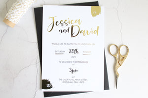 Foiled Wedding Invitation 'Brushed Collection' by Confetti Sweethearts